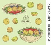 collection of falafel in pita... | Shutterstock .eps vector #1384041950