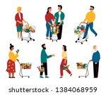 supermarket customers  cartoon... | Shutterstock .eps vector #1384068959