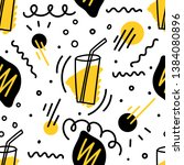 seamless pattern with lemon and ... | Shutterstock .eps vector #1384080896