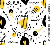 seamless pattern with lemon and ... | Shutterstock .eps vector #1384080899