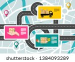 city map with pins on streets... | Shutterstock .eps vector #1384093289