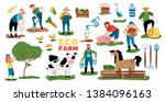 eco farming set of isolated... | Shutterstock .eps vector #1384096163