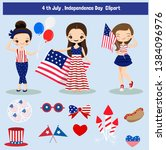 cute cartoon and elements 4th... | Shutterstock .eps vector #1384096976