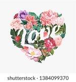 flower forming love slogan in...