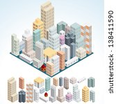 simply isometric buildings. | Shutterstock . vector #138411590