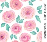 floral seamless pattern with... | Shutterstock .eps vector #1384116059