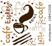 coffee hand drawn background.... | Shutterstock .eps vector #138412328