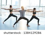group of young sporty people in ... | Shutterstock . vector #1384129286