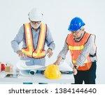 engineer and contractor team... | Shutterstock . vector #1384144640