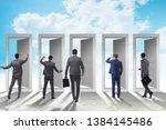 businessman in uncertainty... | Shutterstock . vector #1384145486