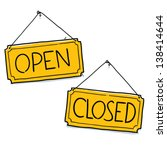 open closed sign. cartoon...