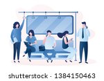 people in the subway male and... | Shutterstock .eps vector #1384150463