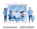 people in the subway male and... | Shutterstock .eps vector #1384150466