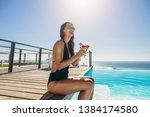 beautiful woman wearing bikini  ...   Shutterstock . vector #1384174580