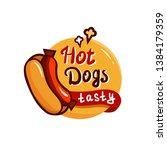 hot dog tasty emblem design...   Shutterstock .eps vector #1384179359