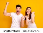 Stock photo portrait of two nice attractive lovely charming cheerful cheery people having fun lottery win 1384189973