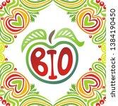 sign bio. apple. beautiful... | Shutterstock .eps vector #1384190450