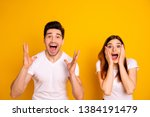 Small photo of Close up photo amazing she her he him his couple hands arms raised air yell unbelievable luck lucky day cheerleader football match wear casual white t-shirts outfit isolated yellow background