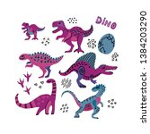 funny dinosaurs collection.... | Shutterstock .eps vector #1384203290