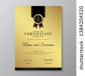 golden and black certificate... | Shutterstock .eps vector #1384204520