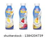 yogurt bottles set with fruits... | Shutterstock .eps vector #1384204739