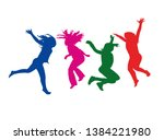 girls jumping bodies ... | Shutterstock .eps vector #1384221980