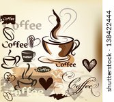 coffee  vector background with... | Shutterstock .eps vector #138422444
