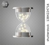 true transparent hourglass with ... | Shutterstock .eps vector #1384224716