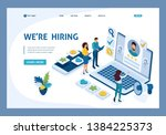 isometric hr manager  we hire... | Shutterstock .eps vector #1384225373