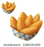 chicken fingers in the paper... | Shutterstock . vector #1384241303