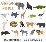 african animals set of icons in ... | Shutterstock .eps vector #1384242716