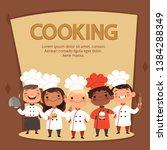 kids characters prepare food.... | Shutterstock .eps vector #1384288349