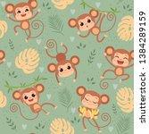 monkey pattern. wild little... | Shutterstock .eps vector #1384289159