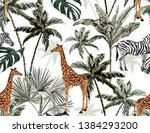 tropical vintage palm trees and ... | Shutterstock .eps vector #1384293200