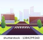 cartoon crosswalks. highway...   Shutterstock .eps vector #1384299260