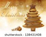 a golden merry christmas... | Shutterstock . vector #138431408