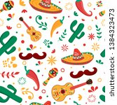 mexican seamless pattern with... | Shutterstock .eps vector #1384323473