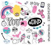 cute hand drawn doodle set with ...   Shutterstock .eps vector #1384341920
