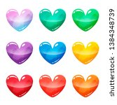 colorful heart glossy buttons...