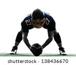 Small photo of one center american football player man in silhouette studio isolated on white background