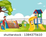 kids playing in playground... | Shutterstock .eps vector #1384375610