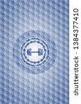 dumbbell icon inside blue... | Shutterstock .eps vector #1384377410
