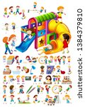 set of children playing... | Shutterstock .eps vector #1384379810