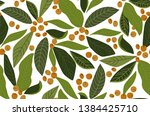 leaves seamless pattern  green  ... | Shutterstock .eps vector #1384425710