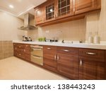 Stock photo the kitchen with classic cabinet 138443243