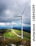 Windmill Farm In Mountain With...