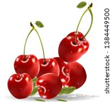 ripe red cherry berries with... | Shutterstock .eps vector #1384449500