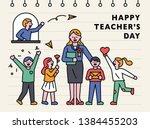 happy teachers day characters.... | Shutterstock .eps vector #1384455203