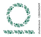 tropical leaves wreath and... | Shutterstock .eps vector #1384456049
