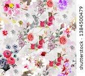 watercolor flower pattern on... | Shutterstock . vector #1384500479